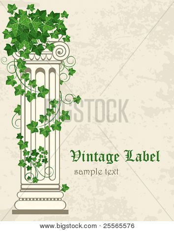 vintage labels, antique columns, entwined with ivy