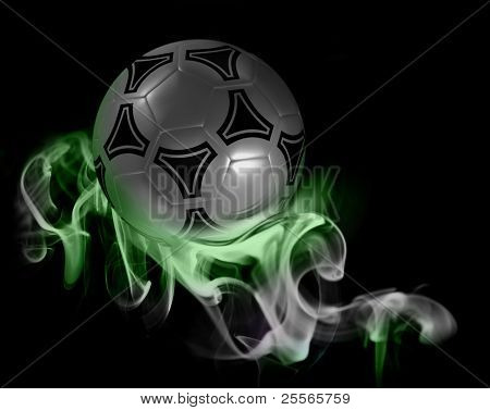 A fantastic soccer ball in the colored smoke from aromatic sticks, excellent background