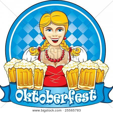 Bavarian Oktoberfest beauty girl with beer, detailed vector illustration
