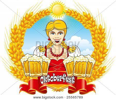 Menina de beleza Oktoberfest bávara com cerveja, detalhada de ilustração vetorial