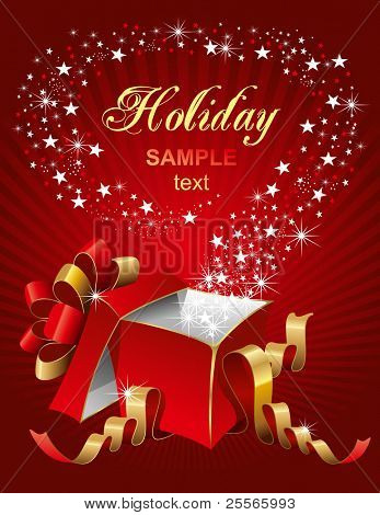 Vector editable illustration of magic gift box, open and luminous