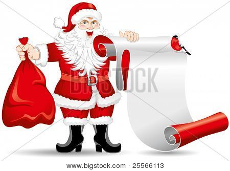 Santa Claus with a roll of paper. Place you text !