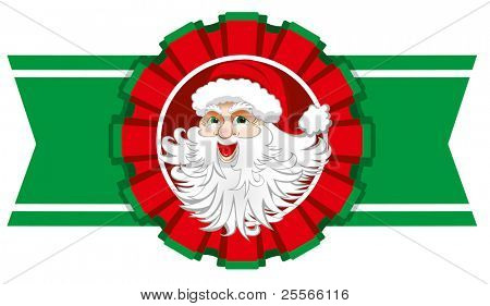 Christmas ribbon with santa claus.