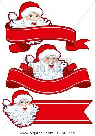 Christmas ribbon with santa claus. Place your text !