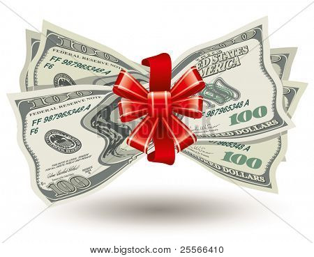 dollars bank notes, tied a red ribbon with a bow, the concept of success, vector editable