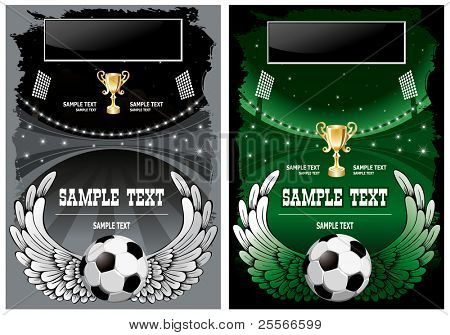 Football poster with champion cup and  place for your text