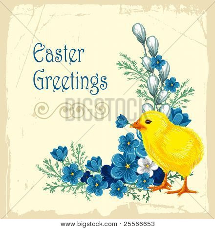 Easter vintage background with forget-me-not and little chicken