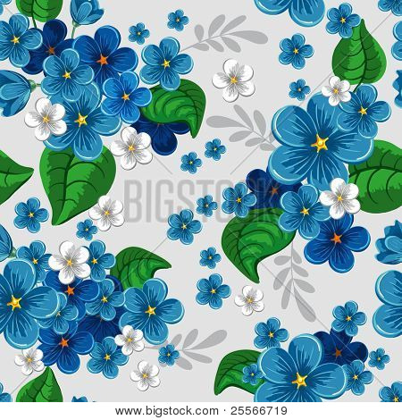 Beautiful seamless pattern with forget-me-not on gray background, vector illustration