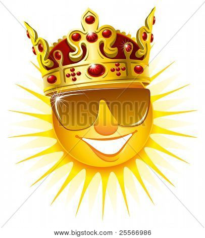 Smiling sun in a golden crown