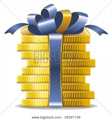 Stack of coins with a bow. Concept of pecuniary profit.
