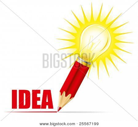Pencils and light bulb, concept of idea
