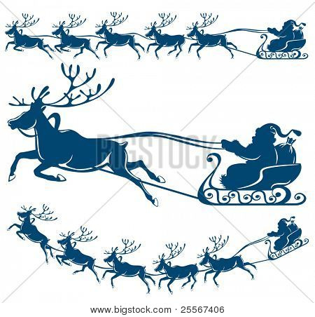 Reindeer and Santa Claus. The best element for your design.