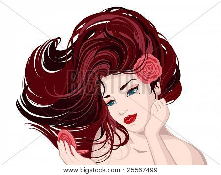 Vector illustration of a beautiful young woman with a red rose flower in her beautiful brown hair. She looks into the hand mirror. (JPG version)