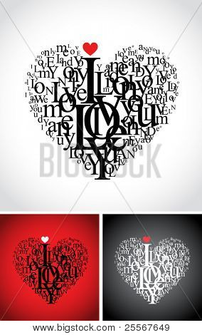 love typographic composition in a heart shape with i love you text - isolated on black, white and red backgrounds