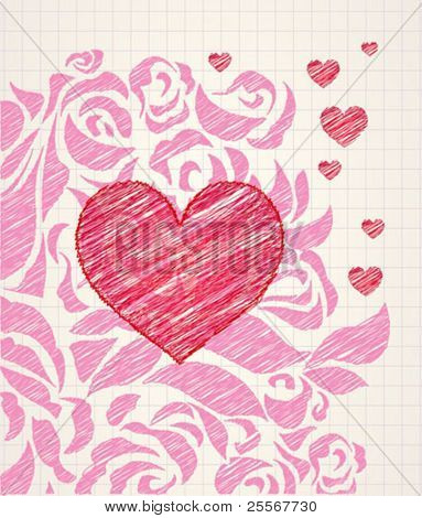 Sketchy heart and roses doodle - ballpoint colorful pen drawing on a squared paper in a notebook or diary. High quality detailed illustration. For teens or kids products.