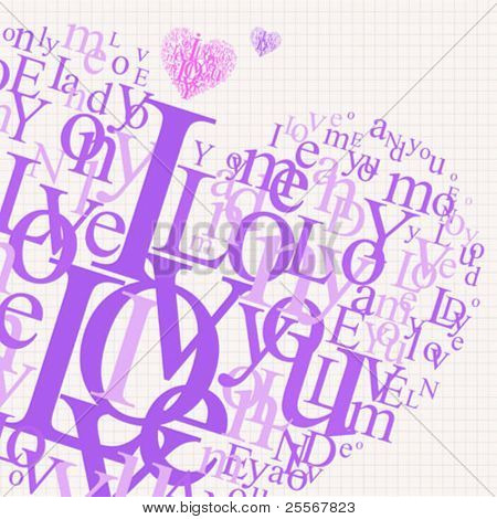 Complex typography love design with heart shaped letters on a notebook page - uncut heart is included too