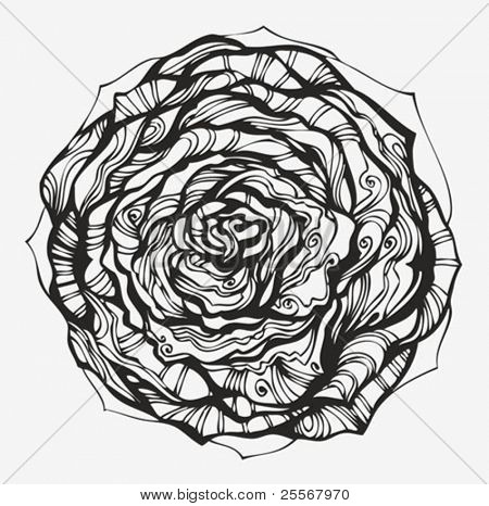 Abstract ornamental rose - hand drawn high quality curved silhouette