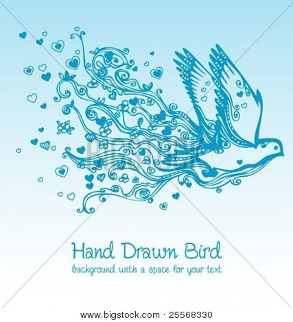 flying bird creative floral hand drawn card