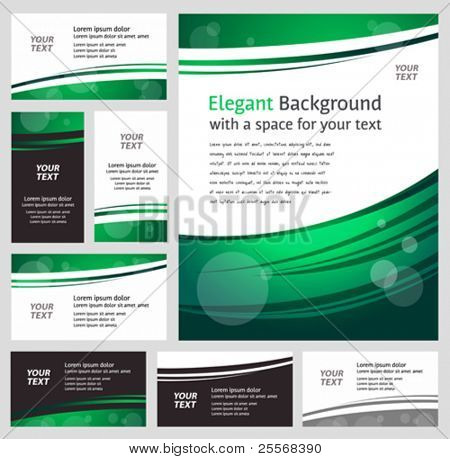 Stylish modern green business backgrounds and cards - templates collection