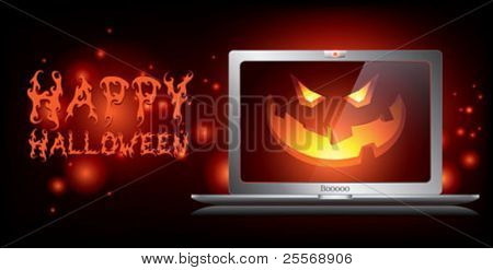 halloween haunted laptop banner