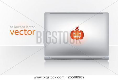halloween creative laptop - vector website header decoration