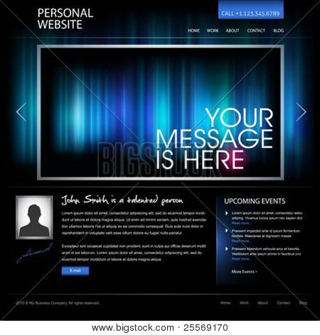 black web design template vector - compatible with 960px width layout - great as personal website for artist, photographer, designer, or as modern company website