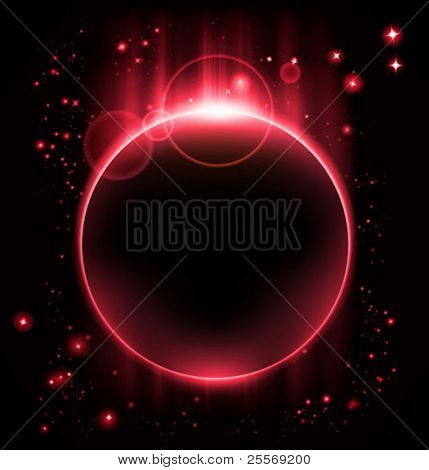 vector eclipse - red planet in starry sky