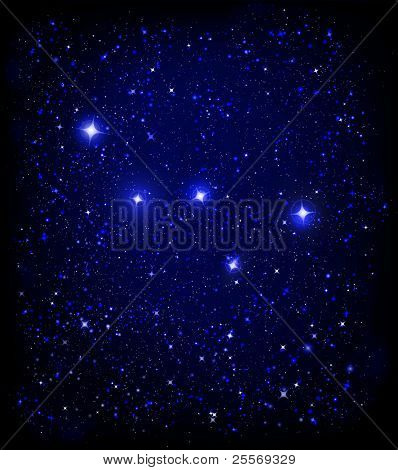 starry night sky and Cassiopeia W constellation - JPG