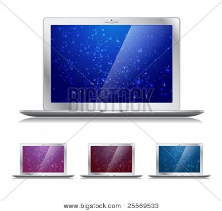 Vector laptops icons with trendy backgrounds