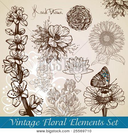 vintage floral backgrounds set - vector illustration
