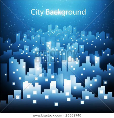abstract city skyline background at night