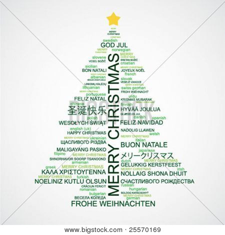 Christmas tree shaped from letters - Merry Christmas in different languages - creative typographic composition - vector
