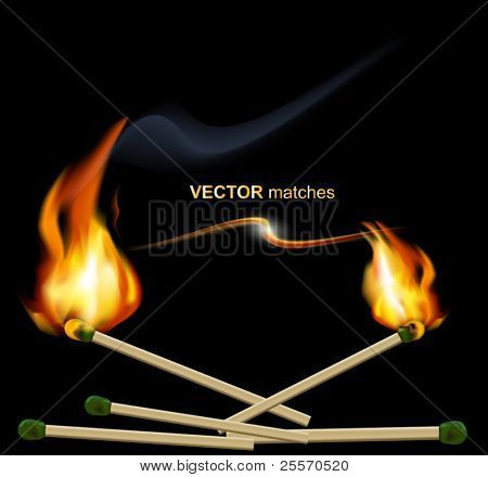 vector lighted match on a black background