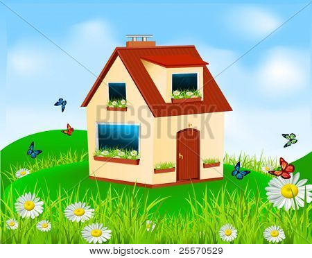 vector house with yellow walls, red roof and daisies on the window sill standing in the meadow under blue sky