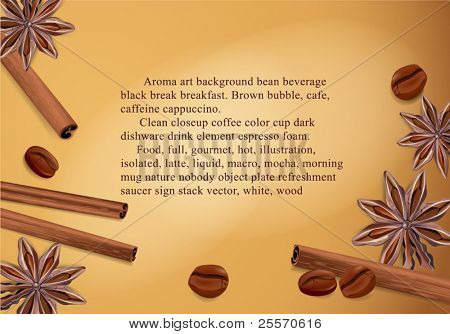 vector spices: cinnamon, coffee bean, star anise on a brown background