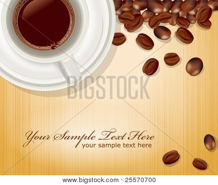 vector background with a cup of coffee and coffee beans