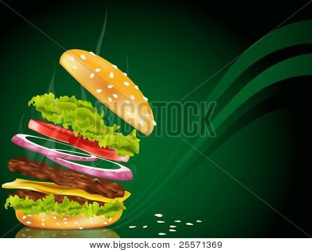 Vector steaming hamburger with cheese, onion and rissole on a green background
