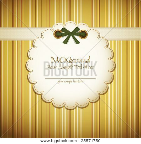 vector greeting card on a beige background with bow