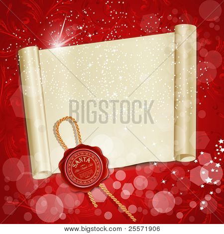 New Year's scroll with the wax seal of Santa on a red holiday background