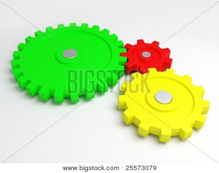 Three gears connected together. A part of the mechanism.