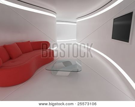 Modern interior. 3d illustration a future living room.