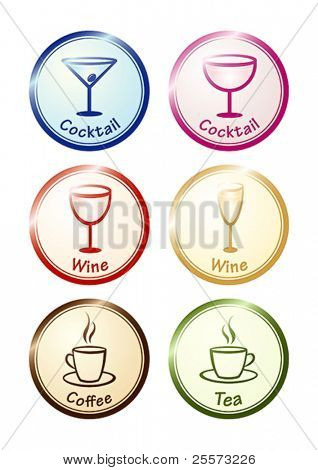 Drinks set. Vector icons