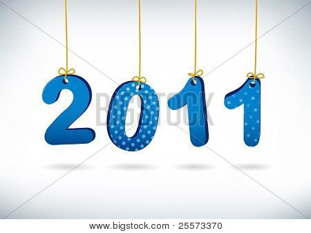 Happy New Year 2011 greeting card. Merry letters are suspended on golden filaments