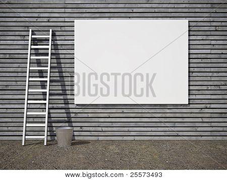 Blank street advertising billboard on wooden wall