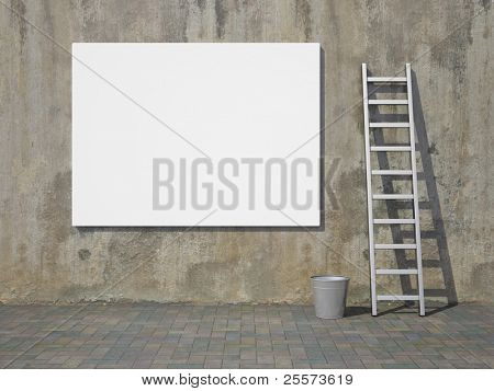 Blank advertising billboard on dirty grunge wall