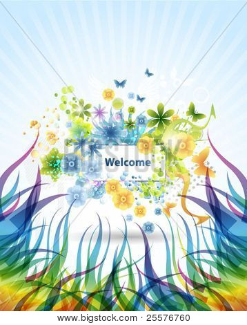 Grunge summer floral Background. Eps10 vector
