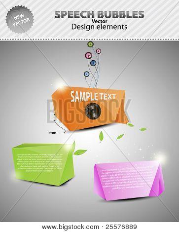 set Abstract origami speech bubble Music, BIO & Fashion. vector