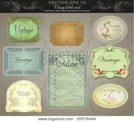Hintergrund Set: Jahrgang Etiketten - inspiriert von antiken Originale. Vektor