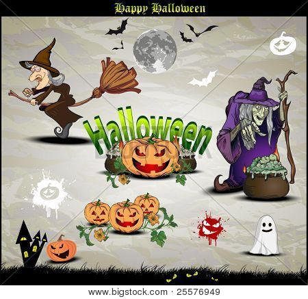 Halloween icons and elements for design