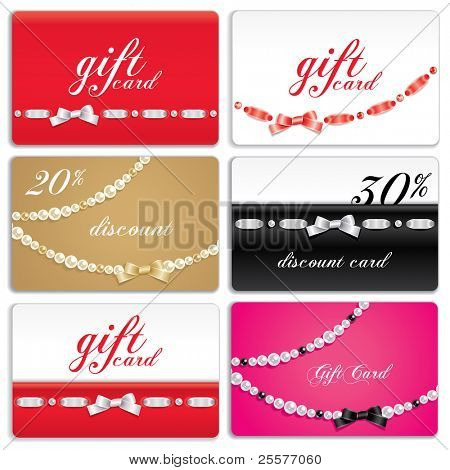 Set of gift cards decorated with ribbon and gems